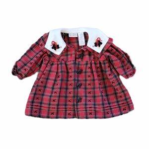 B.T. Kids Red Plaid Peter Pan Collar Dress